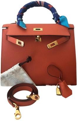 Hermes Kelly 25 Orange Leather Handbags