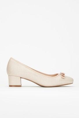 Wallis Gold Bow Low Heel Ballerina Shoe