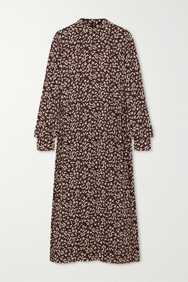 Ganni Printed Crepe Midi Dress - Brown