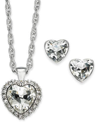 Charter Club Gold-Tone Crystal Heart Pendant Necklace & Stud Earrings Boxed Set, 17