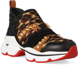 Christian Louboutin 123 Run Leopard Leather & Satin Sneaker