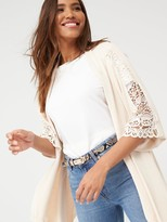 Very Waterfall Cardigan with Lace Trim - Oatmeal