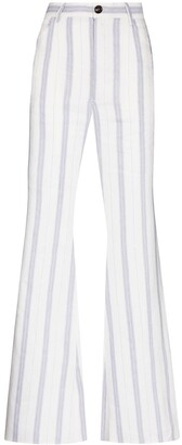 Natasha Zinko Striped Flared High-Waisted Trousers