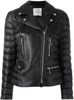 Moncler leather jacket - women - Feather Down/Leather/Polyamide - 3