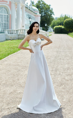 Rasario Bridal Bow-Embellished Silk Gown