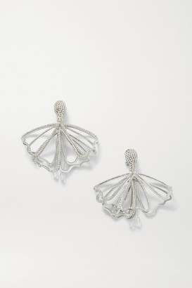 Oscar de la Renta Impatiens Silver-tone Crystal Clip Earrings - one size