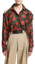 Alexander Wang Rose-Print Cold-Shoulder Cropped Blouse, Nocturnal