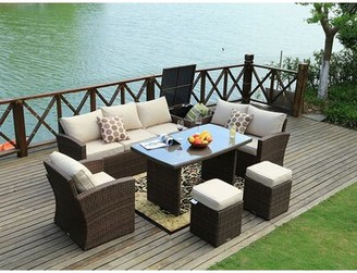 Darby Home Co Eilers Outdoor 7 Piece Sofa Seating Group with Cushion Frame Color: Brown