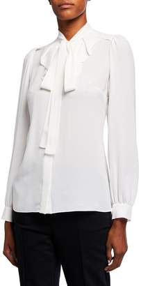 Michael Kors Button-Down Tie-Neck Silk Georgette Blouse