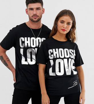 Help Refugees Choose Love silver foil t-shirt in black organic cotton