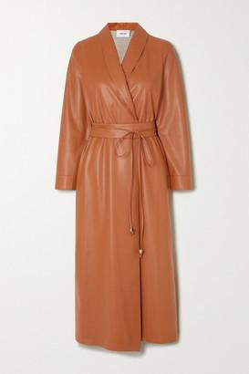 Nanushka Emery Vegan Leather Wrap Dress - Camel