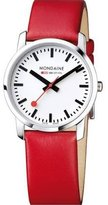 Mondaine Women's 'SBB' Swiss Quartz Stainless Steel and Leather Casual Watch, Color:Red (Model: A400.30351.11SBC)