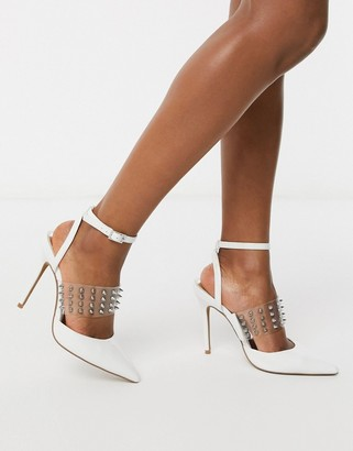 clear ASOS DESIGN Punk studded stiletto heels in white and