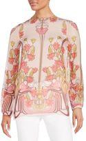 Giamba Tulip-Print Silk Blouse