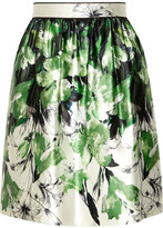 Prabal Gurung Floral-print cotton and silk-blend satin skirt