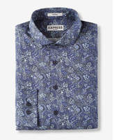 Express fitted berry floral print liberty fabric cotton dress shirt