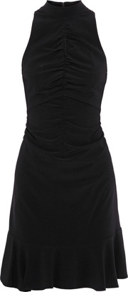 Halston Cutout Ruched Crepe Mini Dress