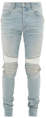 Amiri Mx2 Leather-panel Distressed Skinny Jeans - Mens - Light Blue