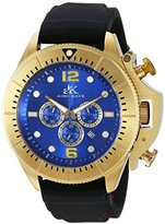 Adee Kaye Men's Quartz Stainless Steel and Leather Dress Watch, Color:Black (Model: AK9041-MG(silicone))
