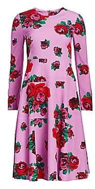 Lela Rose Women's Crepe Rose Print Panel Dress