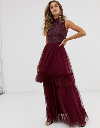 Frock and Frill high neck highly embellished sleeveless midi dress-Purple