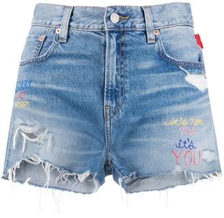 Denimist Embroidered Denim Shorts