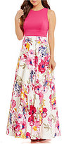 Eliza J Matte Jersey Top Floral Printed Ball Gown