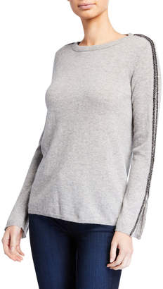 Neiman Marcus Cashmere Crewneck Zip-Cuff Sweater with Embellished Sleeves