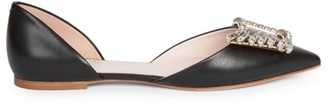 Roger Vivier Wings Embellished Leather d'Orsay Flats