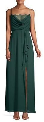 BCBGMAXAZRIA Draped Ruffle Slit Gown