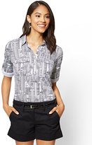 New York & Co. 7th Avenue - Madison Stretch Shirt - Popover - City Print