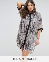 Religion Plus Animal Print Shirt Dress With Contrast Sleeve