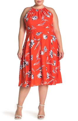 Brinker & Eliza Halter Neck Floral Print Midi Dress (Plus Size)