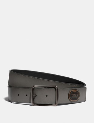 Coach Harness Buckle Cut-To-Size Reversible Belt With Patch, 38Mm