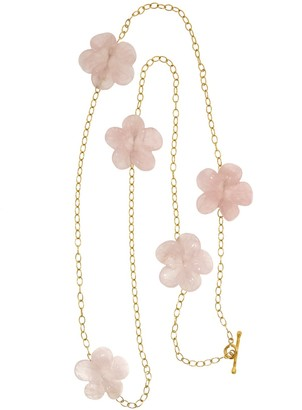 Cathy Waterman Carved Rose Quartz Flowers Chain Necklace in 22 Karat Gold