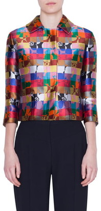 Akris Punto Floral Jacquard Crop Jacket