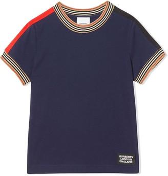 BURBERRY KIDS icon stripe trim T-shirt