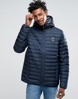 Timberland Lightweight Hooded Down Jacket In Navy