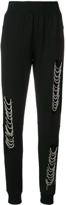 Philipp Plein Distressed Chain Embellished Track Pants