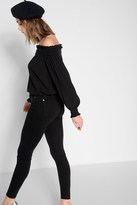 7 For All Mankind Billow Sleeve Off The Shoulder Top In Black