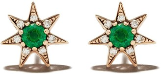 Selim Mouzannar 18kt rose gold emerald and diamond Star earrings