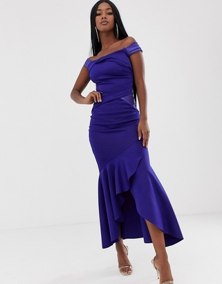 Lipsy scuba bardot maxi dress in cobalt-Blue