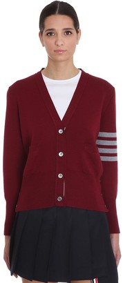 Thom Browne Cardigan In Bordeaux Wool
