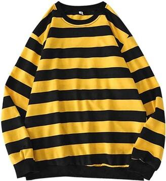 Luckme Women Striped Sweatshirt Pullover Crew Neck Sweatshirt Jumper Ladies Casual Long Sleeve Tunic Tops Autumn Spring Yellow