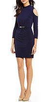 Jessica Simpson Mockneck Cold Shoulder Long Sleeve Belted Sheath Dress