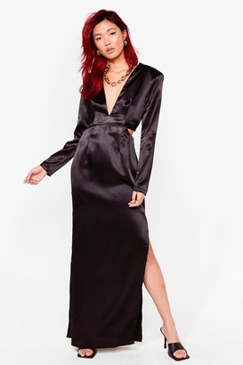 Nasty Gal Womens Cut Loose Satin Maxi Dress - Black - 4