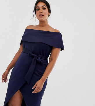 Club L London Plus Plus bardot belted midi dress-Navy