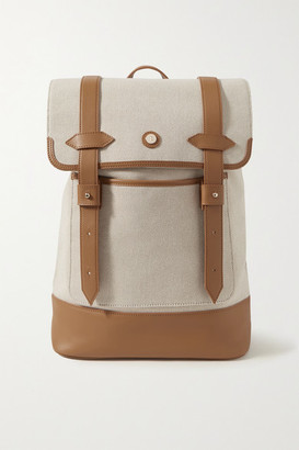 Paravel Upland Leather-trimmed Canvas Backpack - Cream