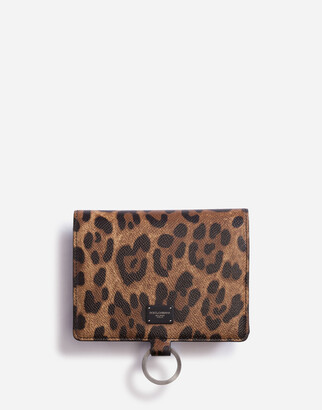 Dolce & Gabbana Large Wallet With Cross-Body Strap In Dauphine Calfskin With Leopard Print
