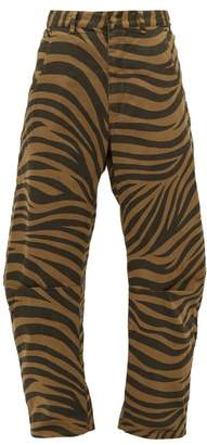 Nili Lotan Emerson Tiger-print Cotton-blend Trousers - Womens - Black Brown